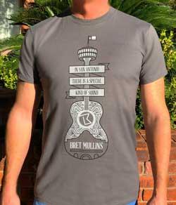 Gray Men's Guitar Logo San Antonio T-shirt